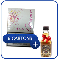 6 Cartons of Glamour Pink Superslims + Chivas Regal 12 Y.O. Whiskey 500 ml.