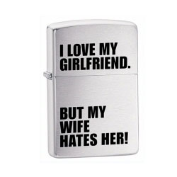 Zippo Love Girlfriend Brushed Chrome lighter (model: 24522)