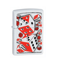Zippo Rolling Dice White Matte Lighter (model: 28031)