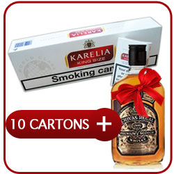 10 Cartons of Karelia king Size + Chivas Regal 12 Y.O. Whiskey  50CL