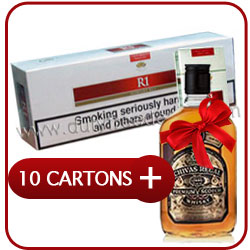 10 Cartons of R1 Red King Size + Chivas Regal 12 Y.O. Whiskey 500 ml