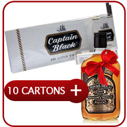 10 Cartons of Captain Black Little Cigars + Chivas Regal 12 Y.O. Whiskey 500 ml.+ Express Shipping