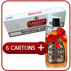 6 Cartons of Karelia King Size + Chivas Regal 12 Y.O. Whiskey 500 ml.