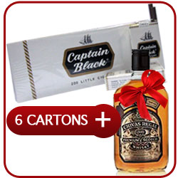 6 Cartons of Captain Black Little Cigars (6 x 200) + Chivas Regal 12 Y.O. Whiskey 500 ml.